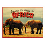 Viaje del vintage de los elefantes de África Tarjetas Postales