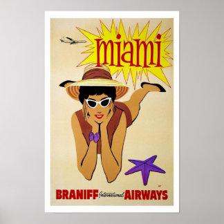 Viaje del vintage de Miami la Florida Póster