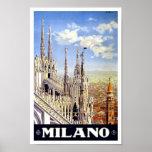Viaje del vintage de Milano Italia Póster