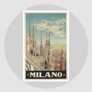 Viaje del vintage de Milano Milano Italia Pegatina Redonda