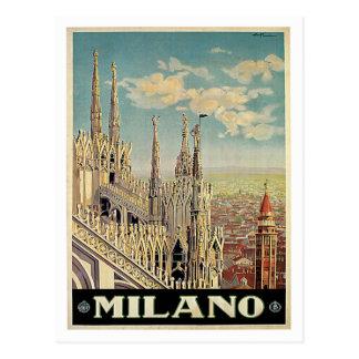 Viaje del vintage de Milano Milano Italia Tarjetas Postales