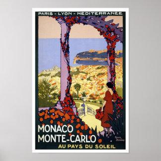 Viaje del vintage de Mónaco Monte Carlo Póster
