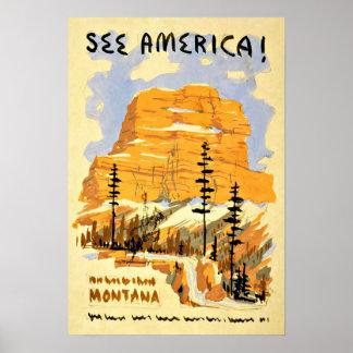 Viaje del vintage de Montana América Póster