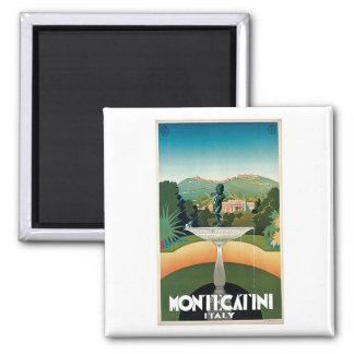 Viaje del vintage de Montecatini Italia Imán Cuadrado