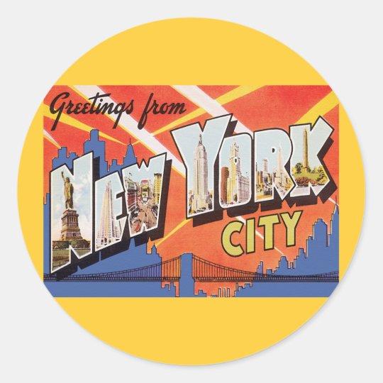 Viaje del vintage de New York City Pegatina Redonda