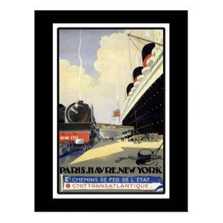 Viaje del vintage de París, Le Havre, Nueva York Postal