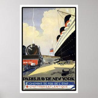 Viaje del vintage de París, Le Havre, Nueva York Póster