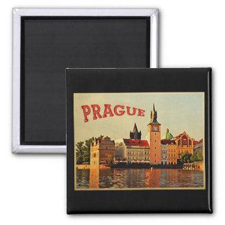 Viaje del vintage de Praga Imán De Frigorifico