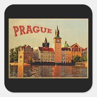 Viaje del vintage de Praga Calcomanía Cuadrada Personalizada