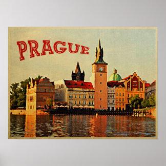Viaje del vintage de Praga Póster