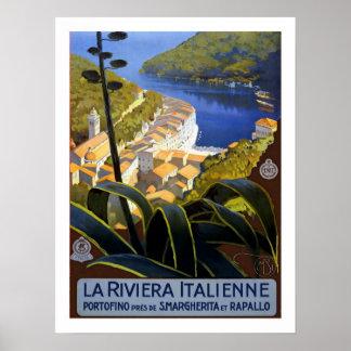 Viaje del vintage de Riviera del italiano Póster