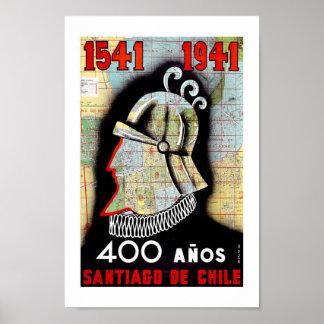 Viaje del vintage de Santiago Chile Póster