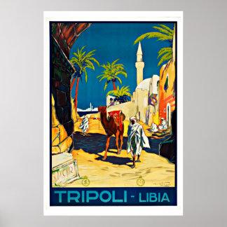 Viaje del vintage de Trípoli Libia Póster