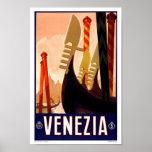 Viaje del vintage de Venezia Venecia Italia Poster
