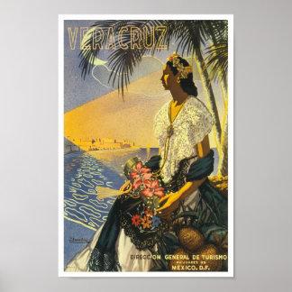 Viaje del vintage de Veracruz México Póster