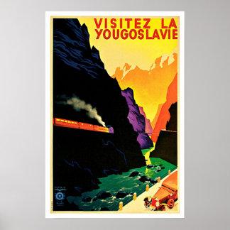 Viaje del vintage de Yougoslavie del La de Visitez Póster