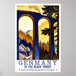 Viaje del vintage del bosque negro de Alemania Póster