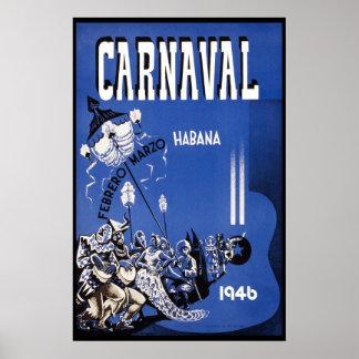 Viaje del vintage del carnaval 1946 de La Habana Posters
