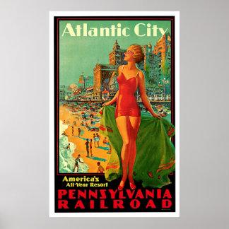 Viaje del vintage del chica de Atlantic City New J Póster