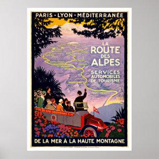 Viaje del vintage del DES Alpes Francia de la ruta Póster
