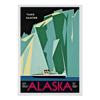 Viaje del vintage del glaciar de Alaska Taku Póster
