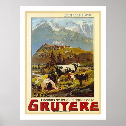 Viaje del vintage del gruyere póster