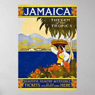 Viaje del vintage del mar del Caribe de Jamaica Póster