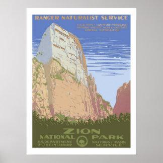 Viaje del vintage del parque nacional de Zion Póster