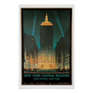 Viaje del vintage, edificio central de Nueva York Impresiones