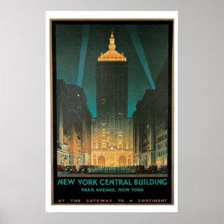 Viaje del vintage, edificio central de Nueva York Póster