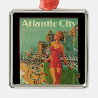 Viaje del vintage; El centro turístico de Atlantic Adorno Cuadrado Plateado