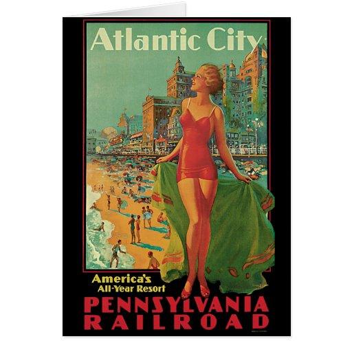 Viaje del vintage; El centro turístico de Atlantic Tarjeta De Felicitación
