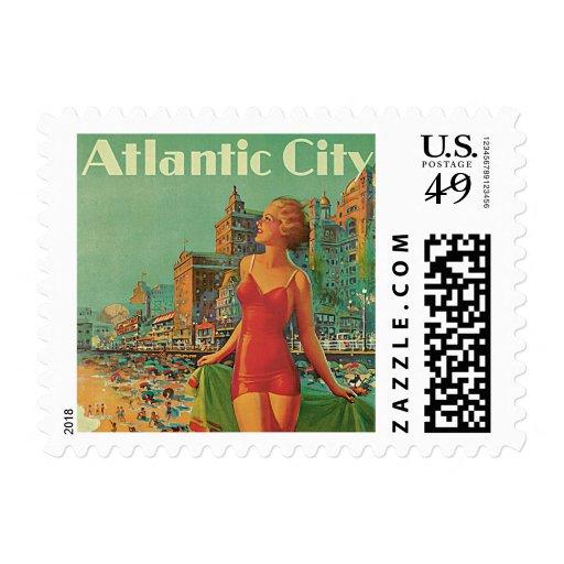 Viaje del vintage; El centro turístico de Atlantic Timbres Postales