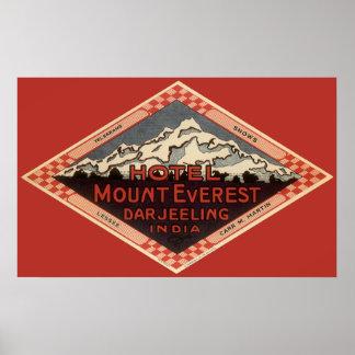 Viaje del vintage, el monte Everest, Darjeeling la Póster