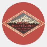 Viaje del vintage, el monte Everest, Darjeeling la Etiquetas Redondas