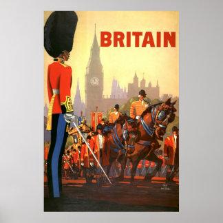 Viaje del vintage Gran Bretaña Inglaterra guardi Poster
