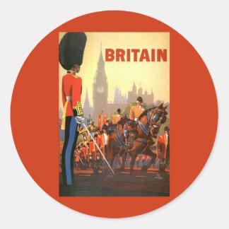 Viaje del vintage, Gran Bretaña Inglaterra, Pegatina Redonda