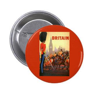 Viaje del vintage, Gran Bretaña Inglaterra, Pin Redondo De 2 Pulgadas