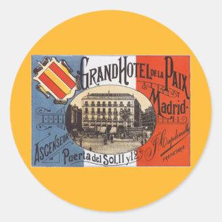Viaje del vintage, hotel magnífico Paix, Madrid, Pegatina Redonda
