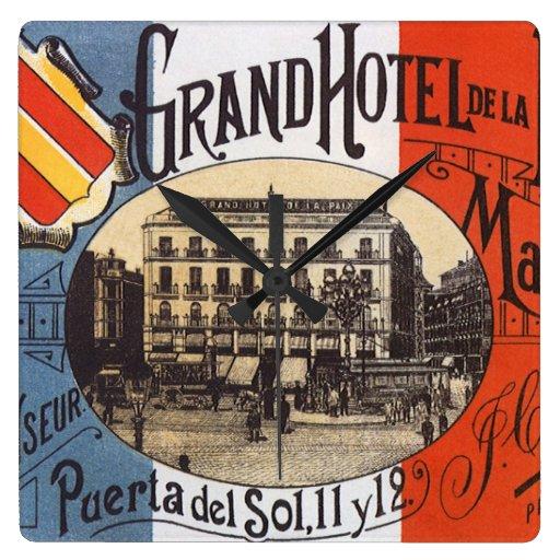 Viaje del vintage, hotel magnífico Paix, Madrid, Reloj Cuadrado