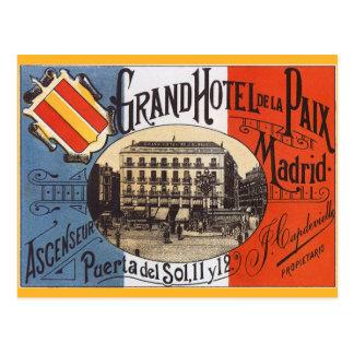 Viaje del vintage, hotel magnífico Paix, Madrid, Tarjetas Postales