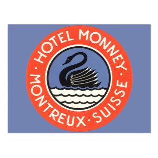 Viaje del vintage, hotel Monney Suiza del pájaro Postal