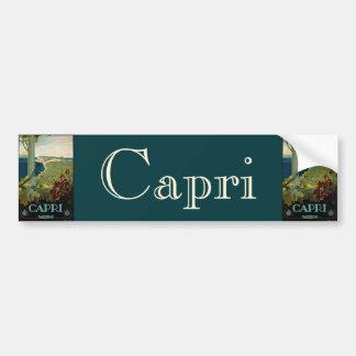 Viaje del vintage, isla costa de Capri, Italia Ita Etiqueta De Parachoque