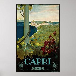 Viaje del vintage, isla costa de Capri, Italia Ita Posters