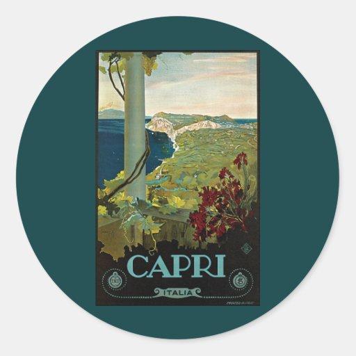 Viaje del vintage, isla costa de Capri, Italia Ita Pegatinas