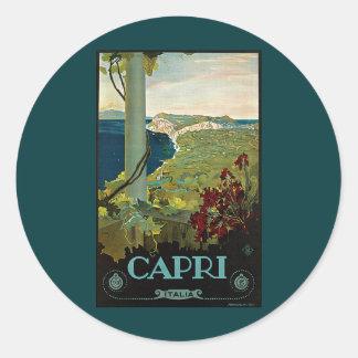 Viaje del vintage, isla costa de Capri, Italia Pegatina Redonda