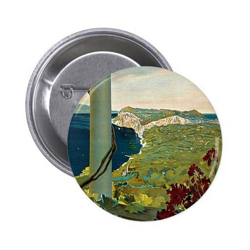 Viaje del vintage, isla costa de Capri, Italia Pin Redondo De 2 Pulgadas