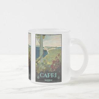 Viaje del vintage, isla costa de Capri, Italia Tazas De Café