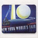 Viaje del vintage, la feria de mundo de New York C Alfombrilla De Ratones