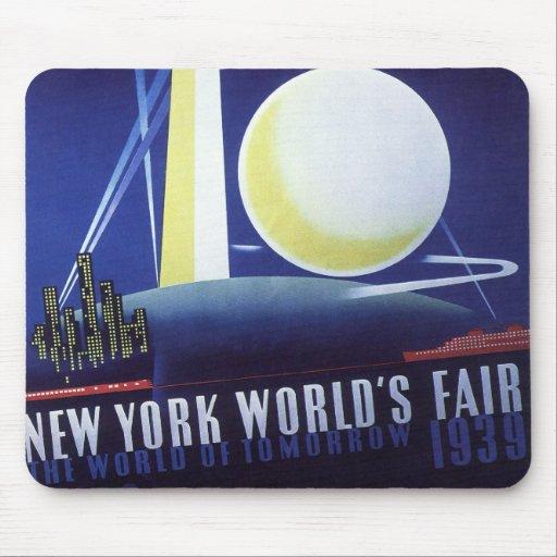 Viaje del vintage, la feria de mundo de New York Alfombrilla De Ratones